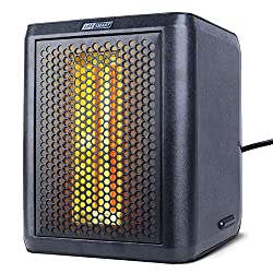 LIFE SMART Portable Infrared Quartz Electric Space Heater and Fan with Adjustable Thermostat, LED Digital Display, 12 Hour Timer, Tip-Over and Overheat Protection 1200W/800W