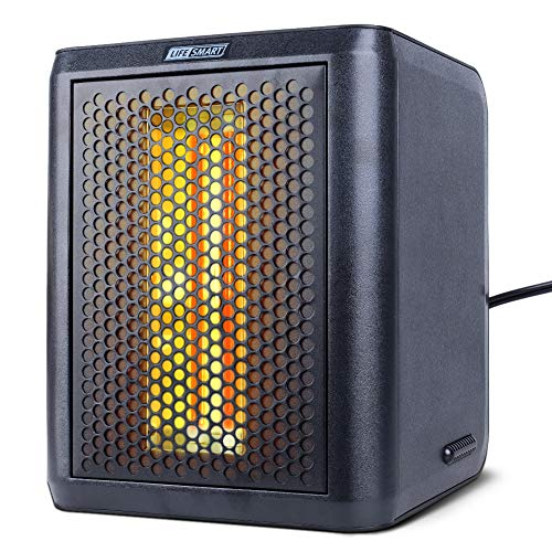 LIFE SMART Portable Infrared Quartz Electric Space Heater and Fan with Adjustable Thermostat, LED Digital Display, 12 Hour Timer, Tip-Over and Overheat Protection 1200W/800W Heater Infrared Space