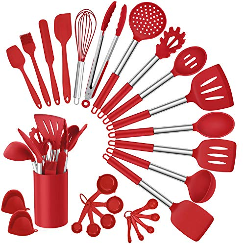 Homikit 27 Pieces Silicone Cooking Utensils Set with Holder, Kitchen Utensil Sets for Nonstick Cookware, Red Kitchen Tools Spatula with Stainless Steel Handle, Heat Resistant
