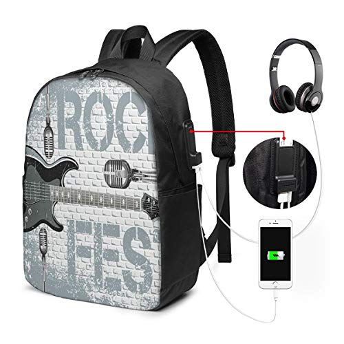 Usicapwear rugzak, Grunge kleur gesplashed baksteen muur achtergrond elektronische gitaar microfoons ontwerp