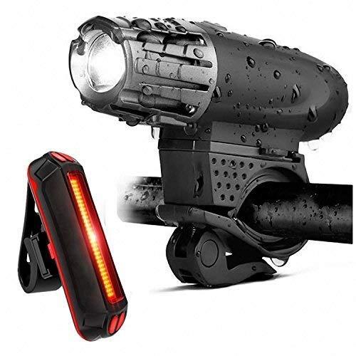Szblk 自転車ライト自転車ライトのフロントとバックのUSB充電式自転車ライトセットスーパーブライトフロントとリア懐中電灯LEDヘッドライトテールライト防滴インストールが簡単