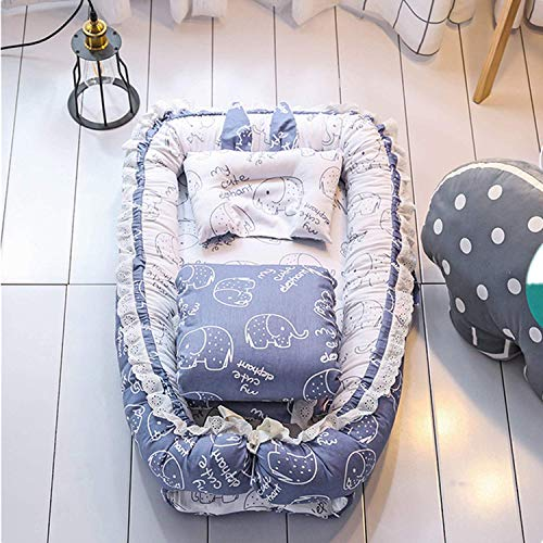 HYLH Newborn Baby Portable Foldable Travel Bed, Infant Toddler Bionic Beds Nursery Cribs with Pillow and Quilts for 0-1 Years Kids,100% Cotton Crib Mattress,Best Baby Gift for New Mom(Blue)