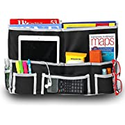 Fancii 10 Pocket Bedside Caddy - Hanging Storage Organizer for Books, Phones, Tablets, Accessory and TV Remote - Best for Headboards, Bed Rails, Dorm Rooms, Bunk Beds, Apartments, Bathrooms & Travel