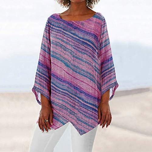 Learn More About Women Tunic Blouse Long Sleeve Casual Rainbow Striped Pullover Top Loose Asymmetric...