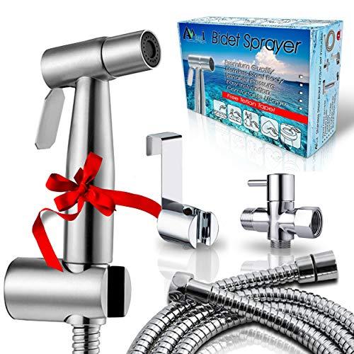 AVAbay Bidet Sprayer for Toilet-Cloth Diaper Sprayer-Baby Hand Held Shower Spray Attachment-Premium Water Handheld Shattaf Sprayer-High Pressure-Leak Proof-Stainless Steel Bedit Cleaner