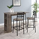 Walker Edison AZW48LNSB3PGW 3 Piece Drop Leaf Counter Table Dining Set with Storage, 48', Grey Wash
