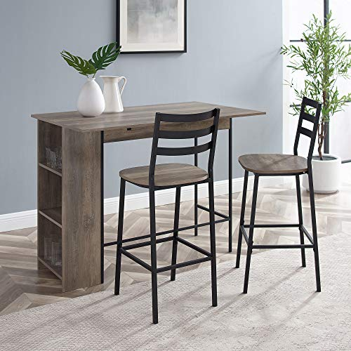 """Walker Edison Furniture Company 3 Piece Drop Leaf Counter Table Dining Set with Storage, 48"""", Gray Wash"""