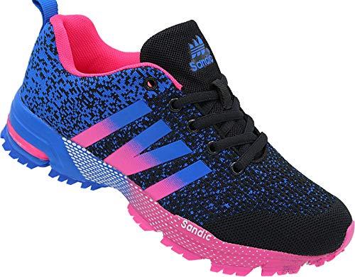 Damen Laufschuhe Sportschuhe Turnschuhe Sneaker Gr-36-41 Art.Nr.258 schwarz-Fuchsia-royal (38)