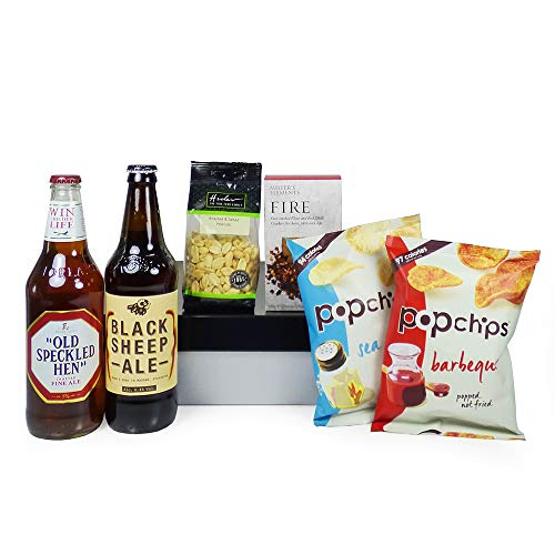 Mens Nibbles Food and Beer Indulgence Hamper Presented in a Black and Silver Gift Box - Gift Ideas for Christmas presents, Men, Dad, Him