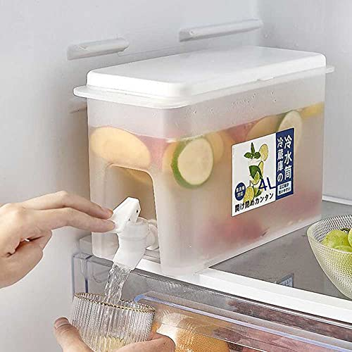HYFZY Dispensador de Bebidas con Grifo, 4L Dispensador de Agua, Dispensador De Agua para Frigorífico, dispensador de Bebidas, Ideal para Bebidas Frías