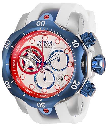 Invicta Marvel Reloj de cuarzo de acero inoxidable con correa de silicona, blanco, 26 (Modelo: 32452)