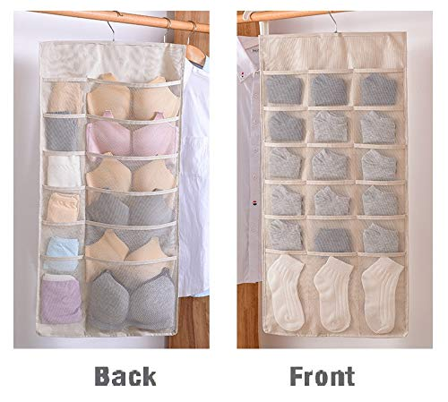 Ouioui Dual-Sided Hanging Closet Organizer for Underwear, Stocking,Bra and Sock,Mesh Pockets with Metal Hanger (30 Pockets Beige)