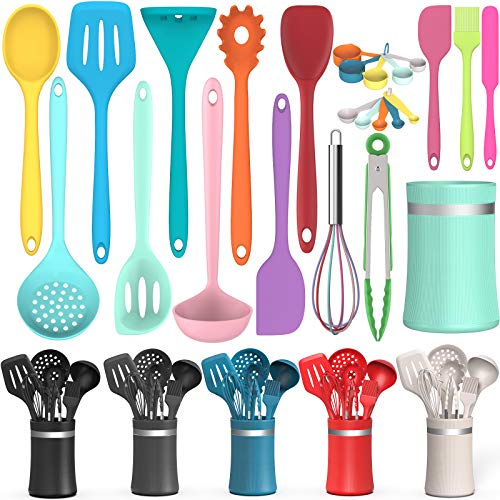 Silicone Cooking Utensil Kitchen Utensil Set, 24 Pcs Non-stick Cooking Utensils Spatula Set with Holder by AIKKIL, Heat Resistant Kitchen Gadgets Tools Set for Cookware(Colorful)