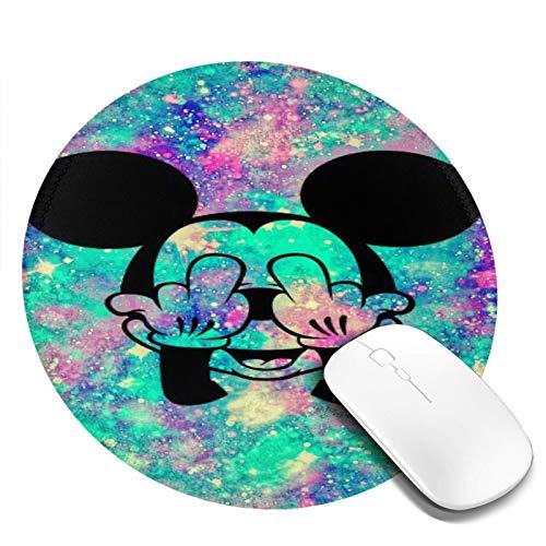 Omigge Alfombrilla De Ratón Redonda De Dibujos Animados, Alfombrilla De Ratón con Base De Goma Antideslizante para Ordenador Y Portátil, Disney Mickey Mouse Brillo