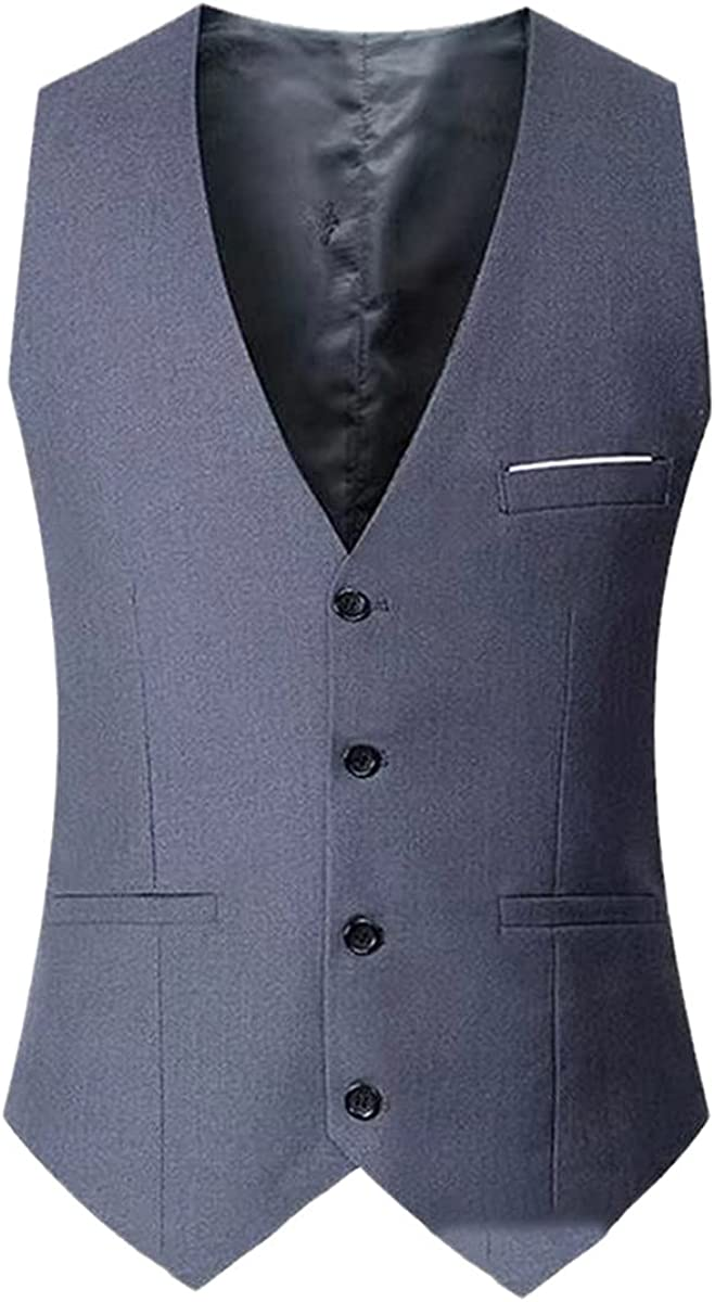 Navy blue vest men's slim fit suit men's vest casual sleeveless formal business jacket