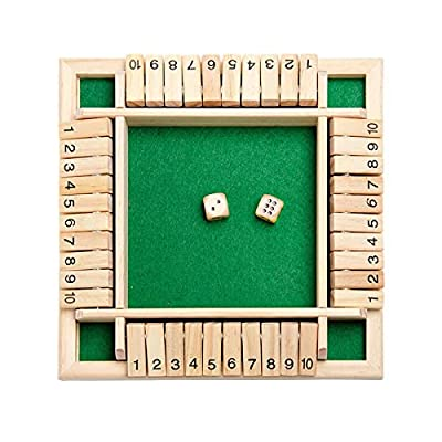 Wooden Board Game for Kids Adults 4 Players Shut the Box Family Math Game Wooden Dice Game Educational Toys (Green)
