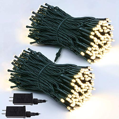 2-Pack Extendable Christmas Lights, Waterproof Green Wire Twinkle Lights for Indoor & Outdoor, 8 Modes 56ft 120LED Decorative Lights for Room, Garden, Patio, Christmas Tree Decorations (Warm White)
