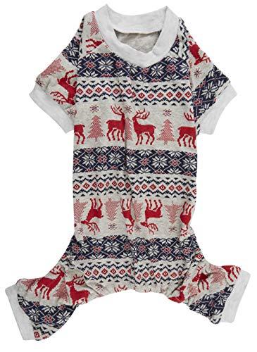 Lanyar Xmas Grey Red Clothes Cotton Pet Dog Pajamas Jumpshit for Pets Dog Pajamas 16' Medium
