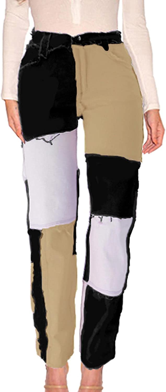 FYEARFOX Women's Patchwork Jeans High Waist 5% OFF Raw Frayed Max 61% OFF Hem