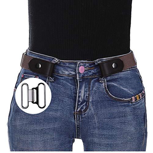 CHOUBAGUAI Tactische riem Gesp Elastische riem Voor Vrouwen Mannen Geen Gesp Stretch Riem Voor Jeans Jurken Zonder Gesp Zwarte Taille Riem