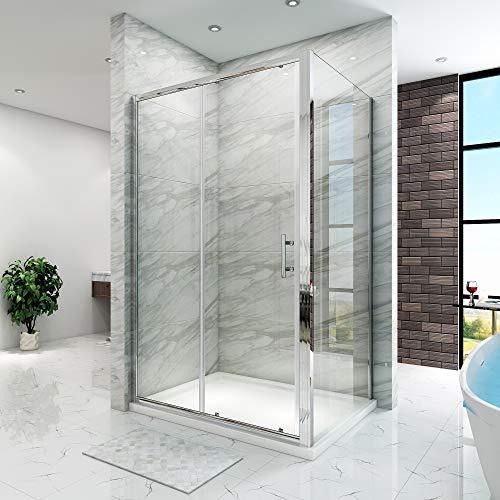 SIRHONA Cabine de douche 120x80x185 cm coulissante cabine douche à double porte Porte de douche coulissante semi-sans cadre