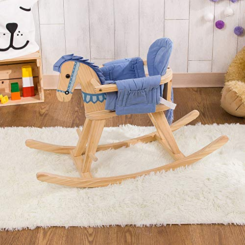 Teamson Kids - Safari Animal Kids Child Toy Wooden Rocking Horse Pony with Removable Safety Surround Pad for Toddlers - Natural/Blue