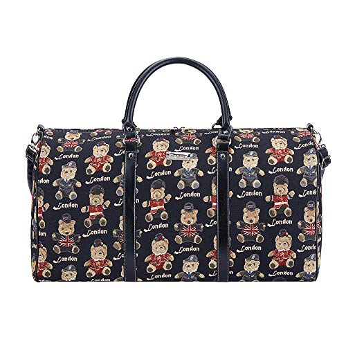 Signare Tapestry Large Duffle Bag Overnight Bags Weekend Bag for Women with London Designs (London Bear)