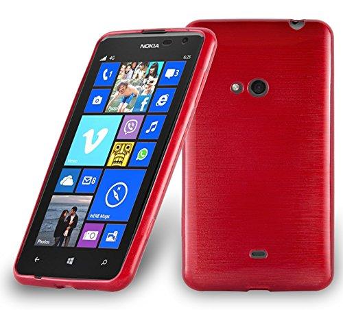 Cadorabo Custodia per Nokia Lumia 625 in Rosso Cremisi - Morbida Cover Protettiva Sottile di Silicone TPU con Bordo Protezione - Ultra Slim Case Antiurto Gel Back Bumper Guscio