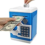 Brekya Mini ATM Piggy Bank Security Machine Best Gift for Kids,Electronic Code Piggy Bank Money Counter Safe Box Coin Bank for Boys Girls Password Lock (Blue)