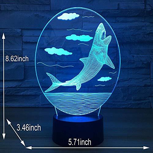 jiushixw 3D acryl nachtlampje met afstandsbediening van kleur veranderende lamp Whale Hologram Air Gift Edison Bulb Table Lamp