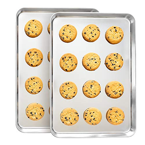 Stainless Steel Cookie Sheet Baking Sheet Pans Set For Cooking Large Big Half Dishwasher Safe Non Toxic Professional Bakeware No Rust // Willow & Eva