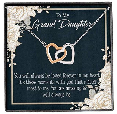 Express Your Love Gifts To My Granddaughter You are Amazing Inseparable Collar colgante de oro rosa de 18 quilates, 40,6 cm, regalo para nieta