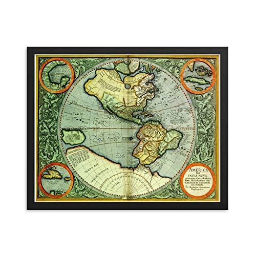 Vintage Antieke Gerardus Mercator 1613 Amerika Kaart Kunst 16x20 ingelijste Poster