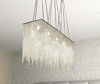 10 Light Modern/Contemporary Dining Room Chandelier Rectangular Chandeliers Lighting Dressed with Crystal! 28
