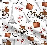 Paris, Pudel, Fahrrad, Herzen, Rot Stoffe - Individuell