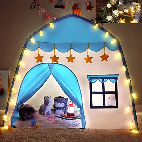 Boeek Tenda da Gioco,Portatile Castello Tenda Blu Casetta Tenda Principessa Principe Casa e Castello Giochi per Bambini,da Regalo di Compleanno per Ragazzi e Ragazze includere Due Luce(Blu)