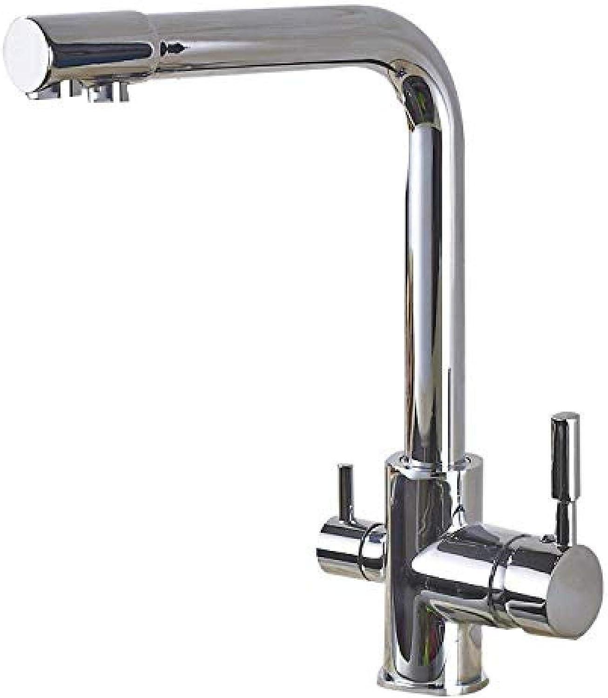 3-Wege-Küchenarmatur warmes und kaltes Wasser 2 Griff rotierenden Wasserfilter Zeichnung Chrom Spüle Wasserhahn Mischhahn