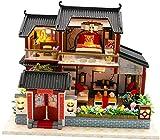 DIVISTAR Delicada escala 1:24 DIY casa de muñecas de madera miniatura casa kit creativo habitaciones - patio con dormitorio y sala de estar