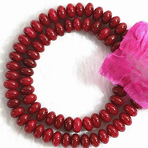 PINGGUO Nuevamente rojo Jades piedra natural calcedonia 5X8mm piedra moda ábaco facetado cuentas sueltas DIY joyería haciendo 15