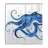 JSTEL Decor Vorhang für die Dusche Blau Octopus Aquarell Muster, Print 100prozent Polyester Stoff 167,6x 182,9cm für Home Badezimmer Deko Dusche Bad Gardinen mit Kunststoff Haken