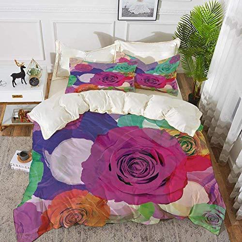 Qoqon bedding - Duvet Cover Set,Art,Lovely Floral Arrangement with Vivid Roses Nature Flowers Botany Love Print Decorat,Hypoallergenic Microfibre Duvet Cover Set with 2 Pillowcase 50 X 75cm
