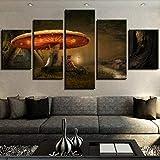5 piezas cuadro en lienzo Cuadro compuesto por 5 lienzos impresos en HD, utilizados para decoración del hogar y carteles Seta (150x80cm sin marco)