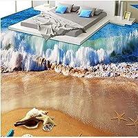 Lcymt カスタム3D写真の床の壁紙3D立体バスルームの床Pvcウォールペーパー自己接着イルカ海辺の波とシェル壁画-250X175Cm