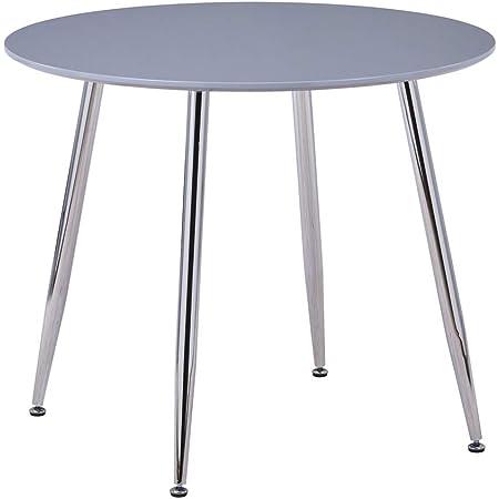 GOLDFAN Table de Salle à Manger Petit Ronde Table de Cuisine Haute Brillance Moderne Nordique 80cm Gris