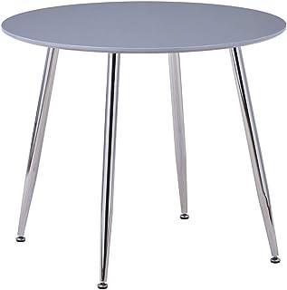 GOLDFAN Table à Manger Ronde Moderne avec Pieds en Métal pour Salon Salle à Manger et Bureau (Gris)