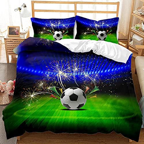 Meetlife Juego de cama infantil en 3D, diseño de fútbol del Mundo, juego de funda nórdica de microfibra, para niños y niñas, Ados habitaciones (I,King 220 x 240 cm)