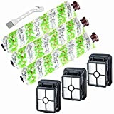 Smilyan Replacement Parts for Bissell CrossWave Pet Pro 2306A & CrossWave 1785 Series, 3 Pack 2460 Multi-Surface Pet Pro Brush Rolls + 3 Pack 1866 Vacuum Filters,Compare to Part 1613568, 1608684