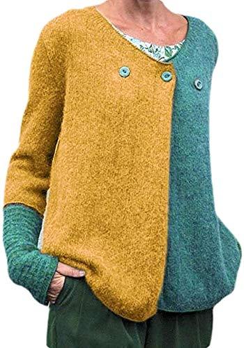 Tegerri Suéter clásico de la chaqueta de punto de los botones del cuello en V del contraste del color