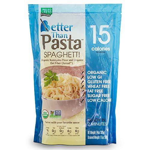 Better Than Pasta. Certified Organic. Zero Carb, Keto Friendly, Vegan, Gluten-Free, Non-GMO, Konjac Shirataki Spaghetti Noodles 14 Ounces (6 Pack)