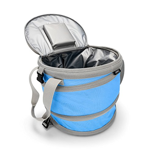 Camco Pop-Up Cooler - Lightweight, Insulated, Waterproof, Portable and Collapsible - for Travel, Picnics, Hiking, Camping and The Beach - Blue (51995)